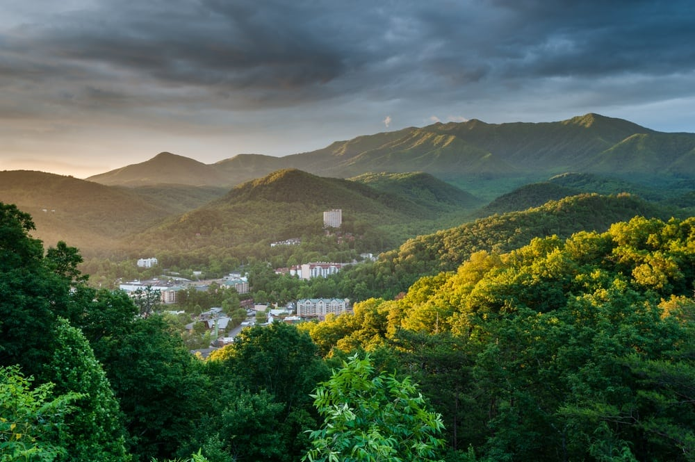 View of Gatlinburg and the Smoky Mountains