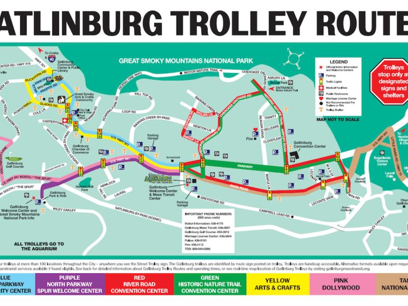 Gatlinburg trolley map