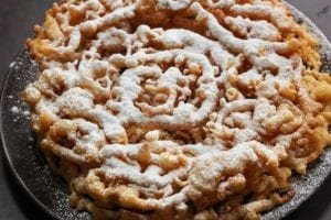 funnel cake with powdered sugar